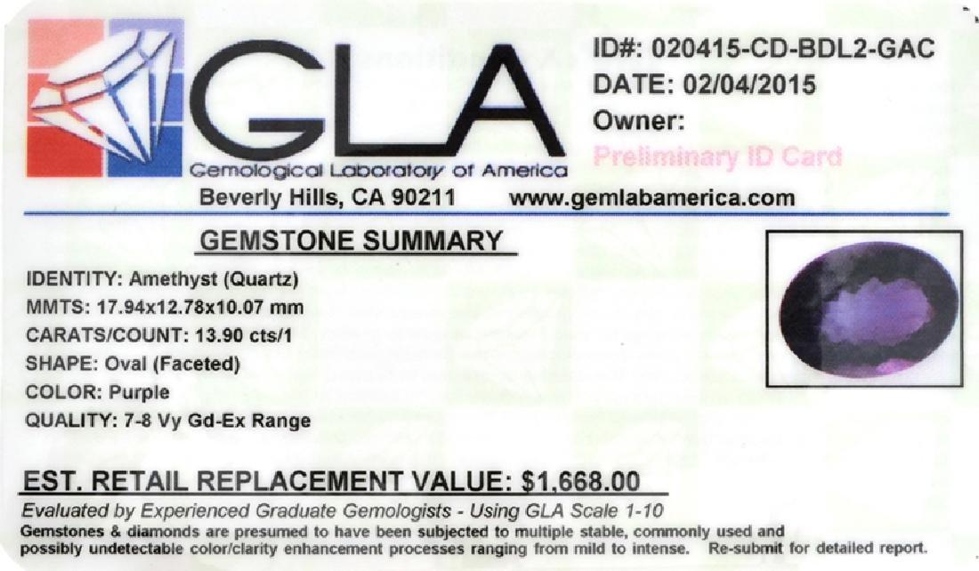 APP: 1.7k 13.90CT Oval Cut Amethyst Quartz Gemstone - 2
