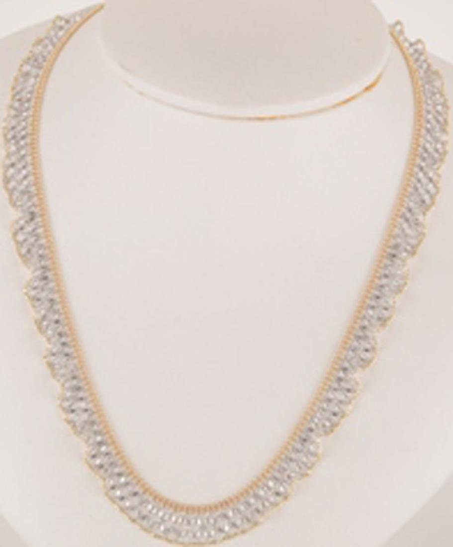 *Fine Jewelry 14 KT White/Yellow Gold, 18'' Fancy Lace