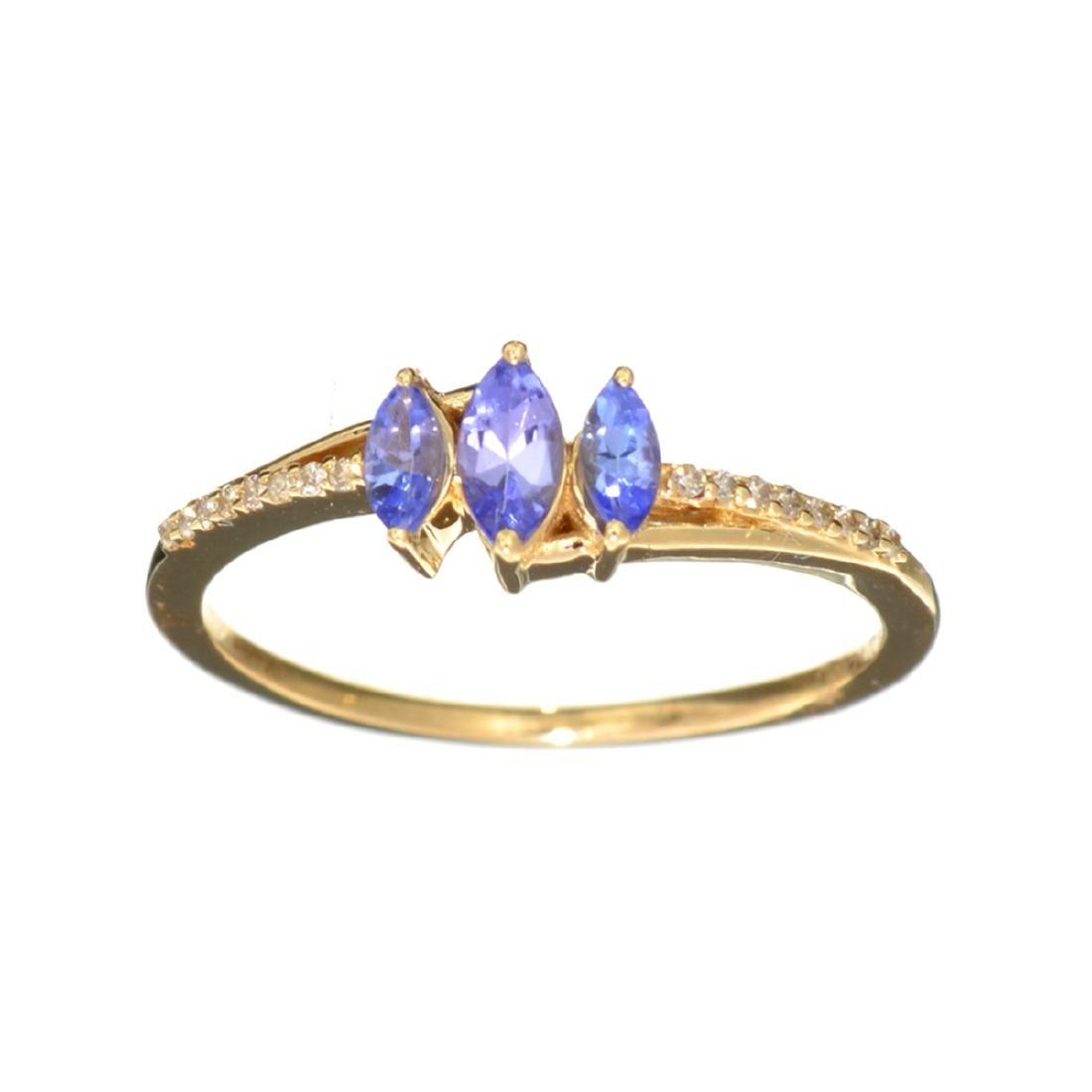 Designer Sebastian 14 KT Gold, Marquise Cut Tanzanite