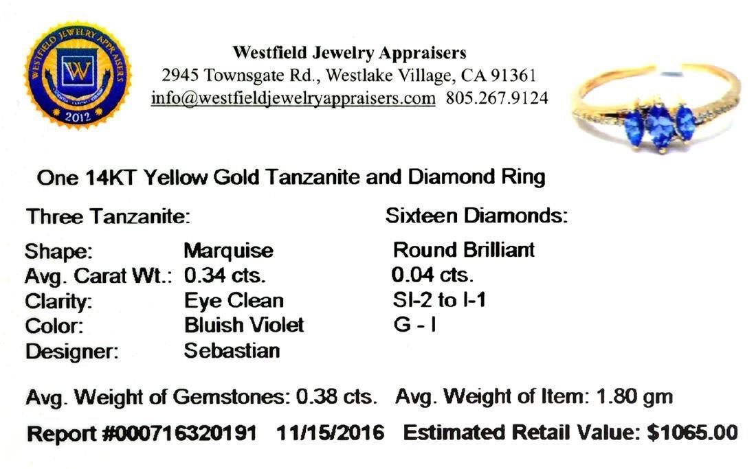 Designer Sebastian 14 KT Gold, Marquise Cut Tanzanite - 2