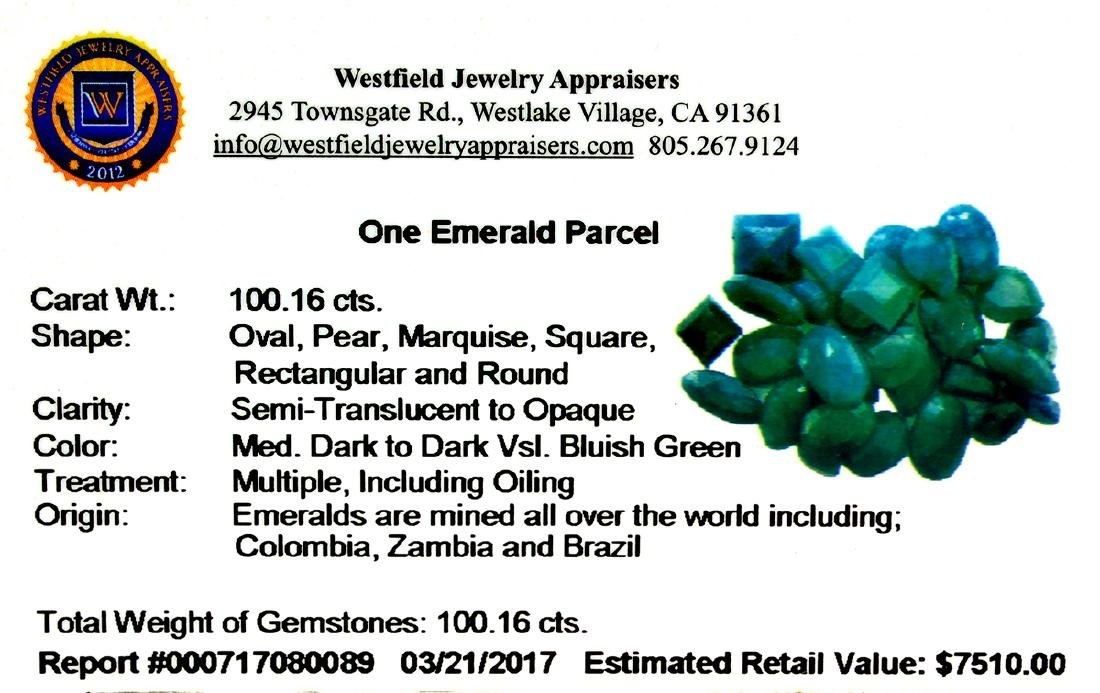 APP: 7.5k 100.16CT Various Shapes Green Emeral Parcel- - 2