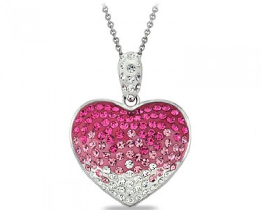 Fushia Crystal Ombre Heart Made With Swarovski Elements