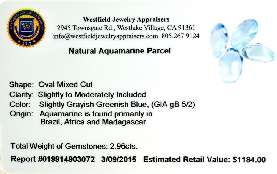 APP: 1.2k 2.96CT Oval Mixed Cut Natural Aquamarine - 2