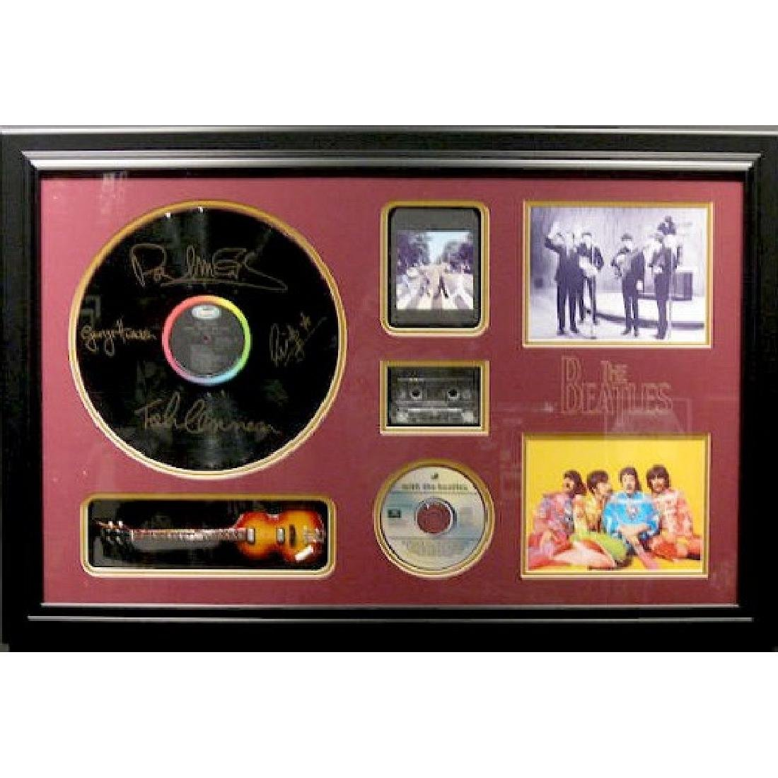 Beatles Mini Guitar Collage - Plate Signatures