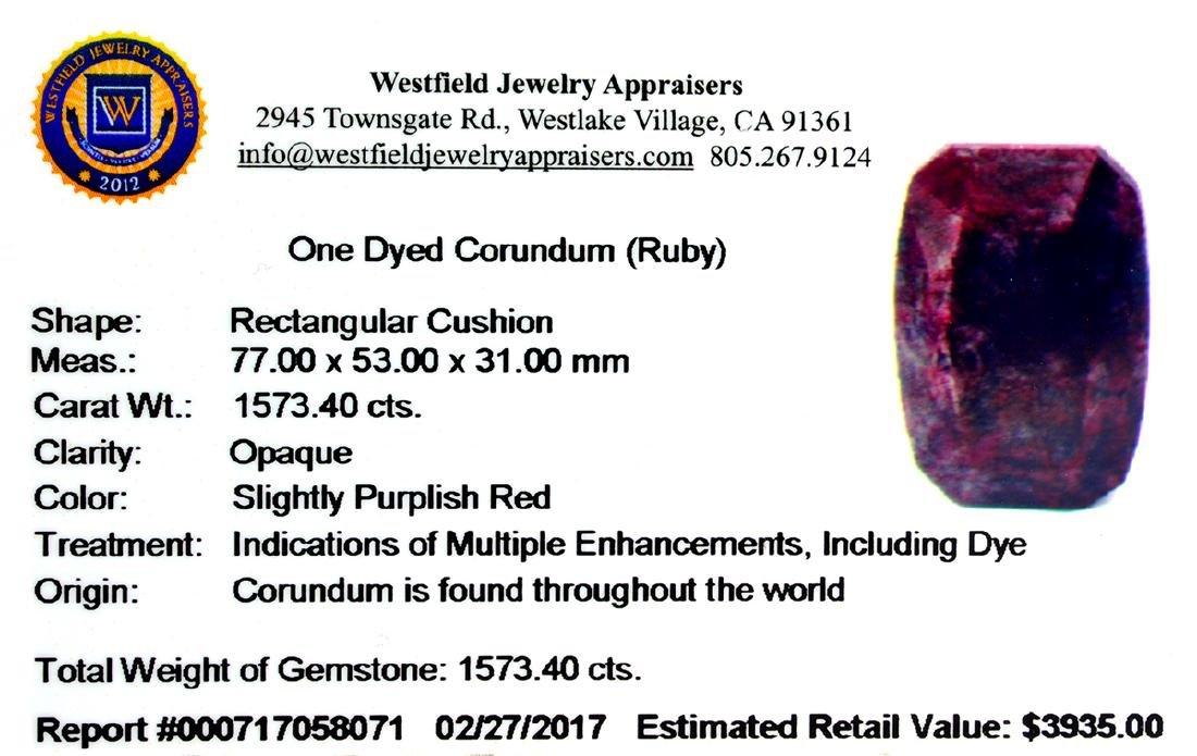 APP: 3.9k Very Rare Large Ruby 1,573.40CT Gemstone - 2