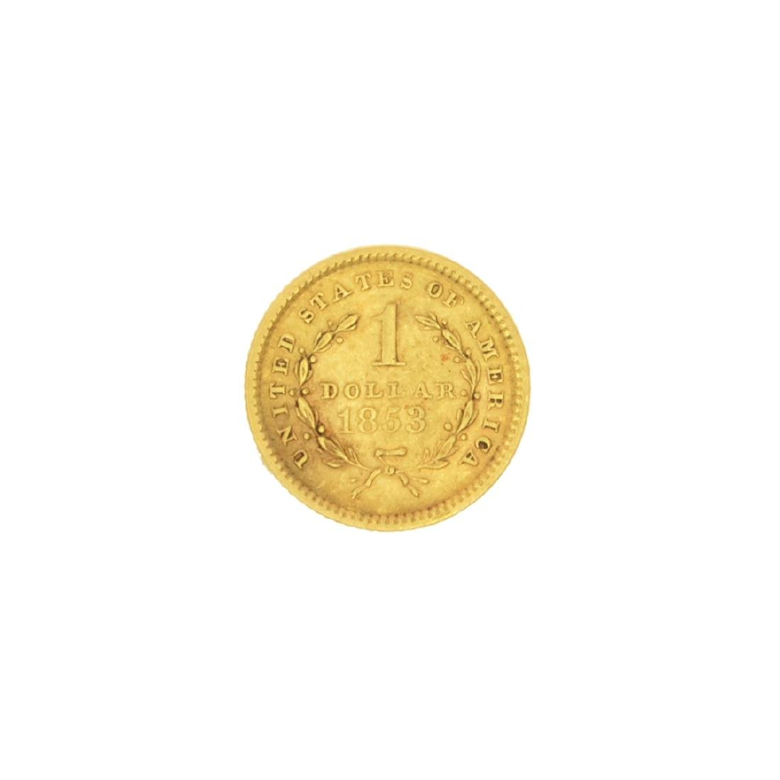 Very Rare 1853 $1 U.S. Liberty Head Gold Coin Great - 2