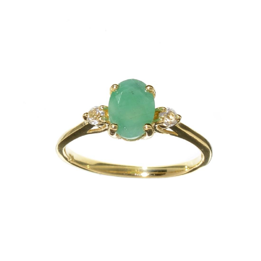 APP: 1k Fine Jewelry 14 KT Gold, 1.27CT Green Emerald