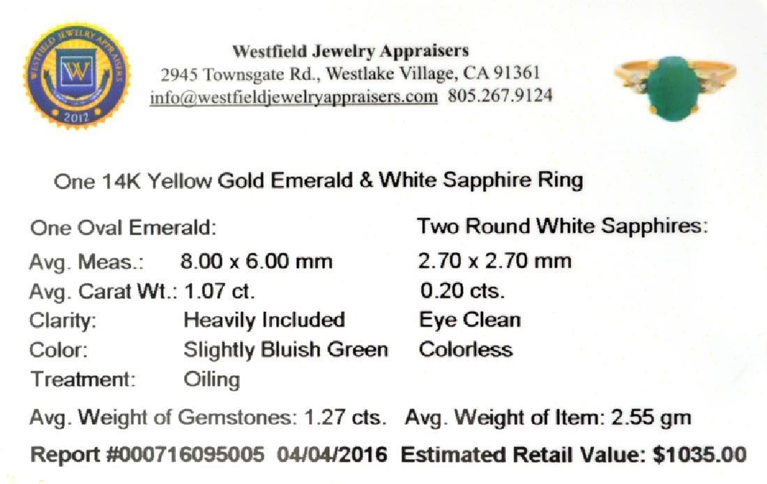 APP: 1k Fine Jewelry 14 KT Gold, 1.27CT Green Emerald - 2