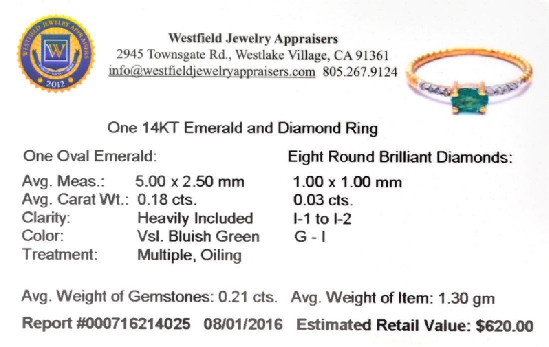 APP: 0.6k Fine Jewelry 14 KT Gold, 0.21CT Green Emerald - 2