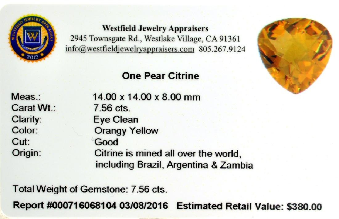 APP: 0.4k 7.56CT Pear Cut Citrine Gemstone - 2