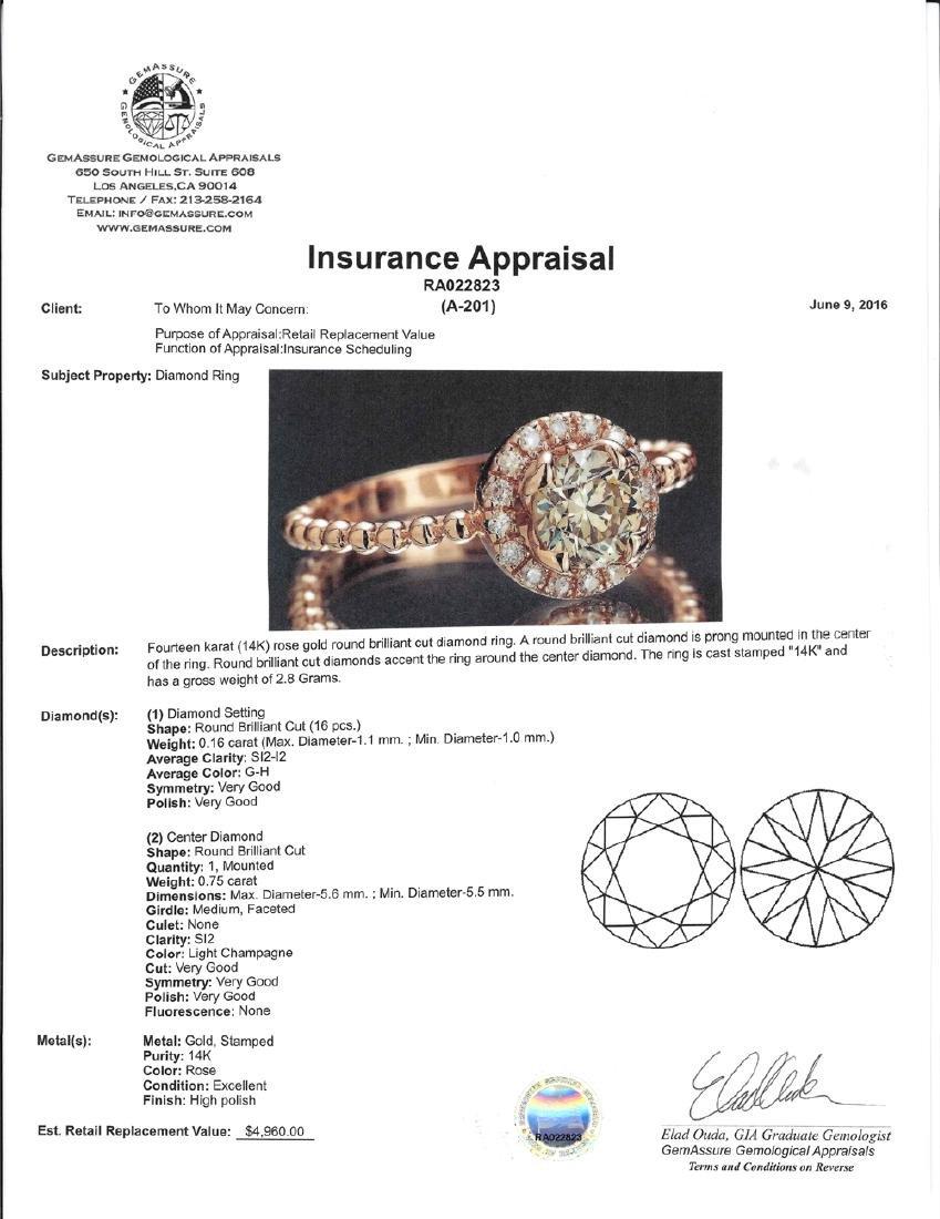 APP: 5k *Fine Jewelry 14 KT Rose Gold, 0.91CT Round - 2