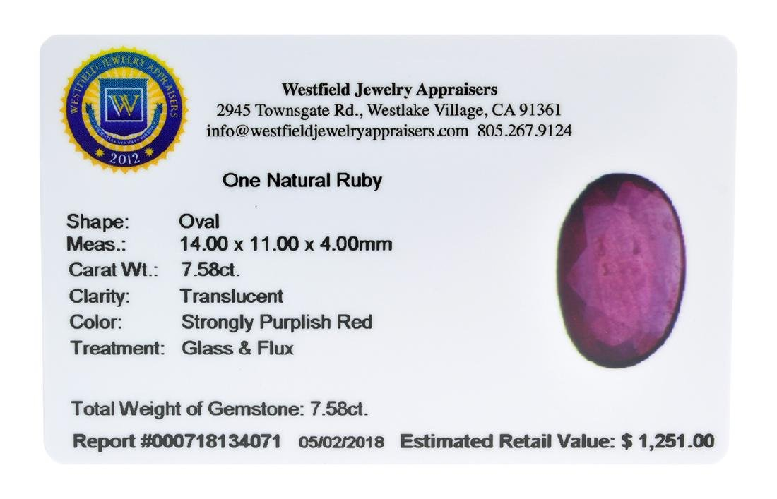 APP: 1.3k Extra Large Size 7.58CT Ruby Gemstone Very - 2