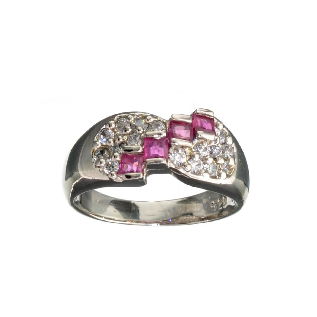 APP: 1k 0.39CT Ruby And Topaz Platinum Over Sterling
