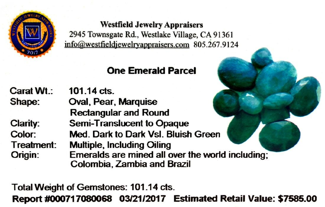 APP: 7.6k 101.14CT Various Shapes Green Emeral Parcel- - 2