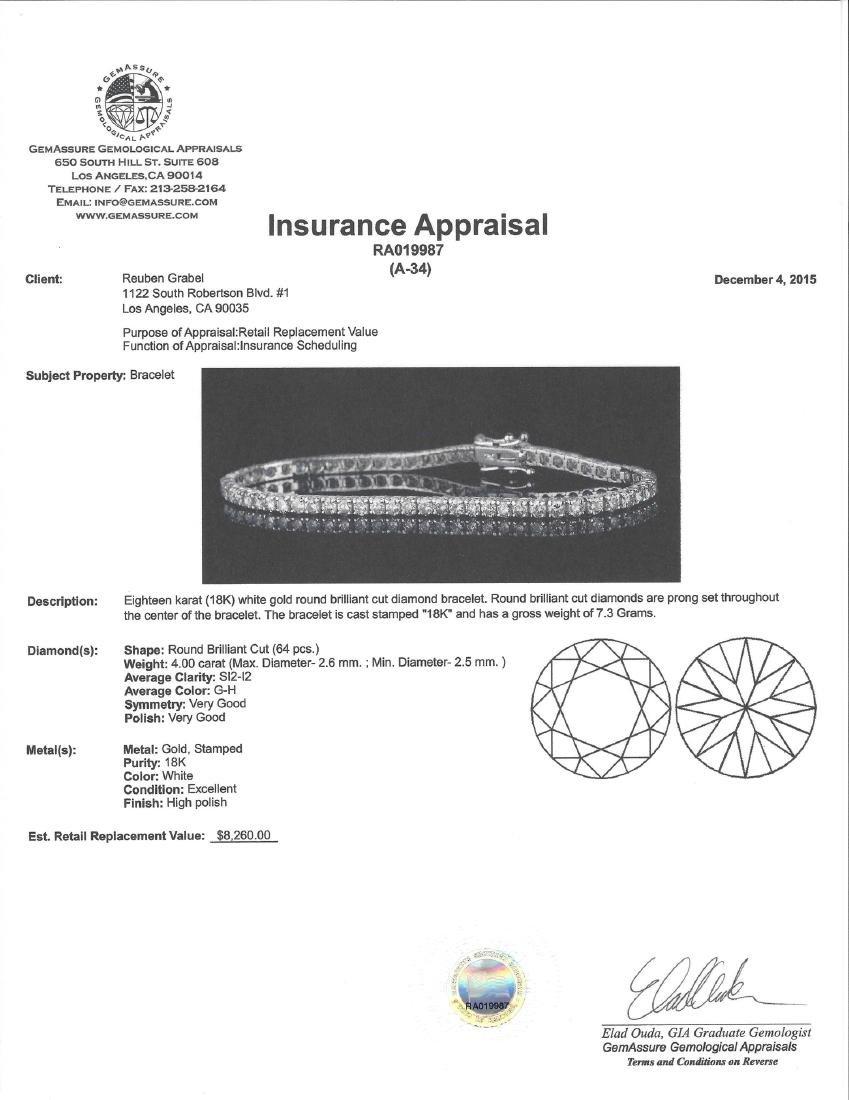 *Fine Jewelry 18 kt. White Gold, Custom Made 4.03CT - 2