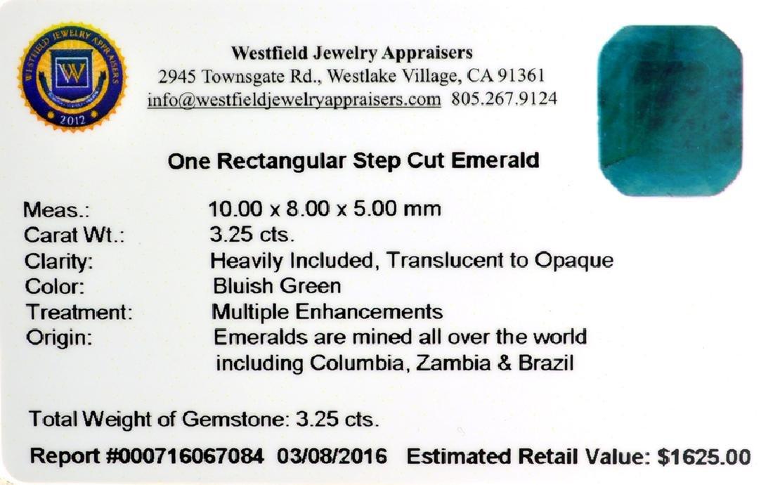 APP: 1.6k 3.25CT Rectangular Step Cut Green Emerald - 2