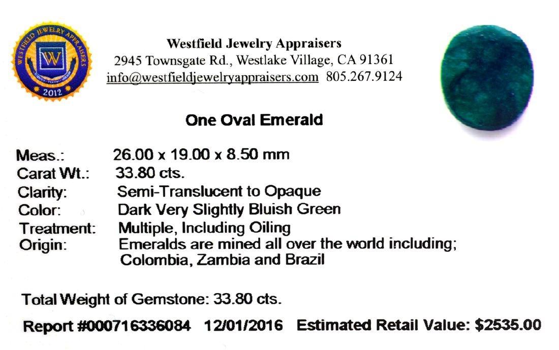 APP: 2.5k 33.80CT Oval Cut Green Emerald Gemstone - 2