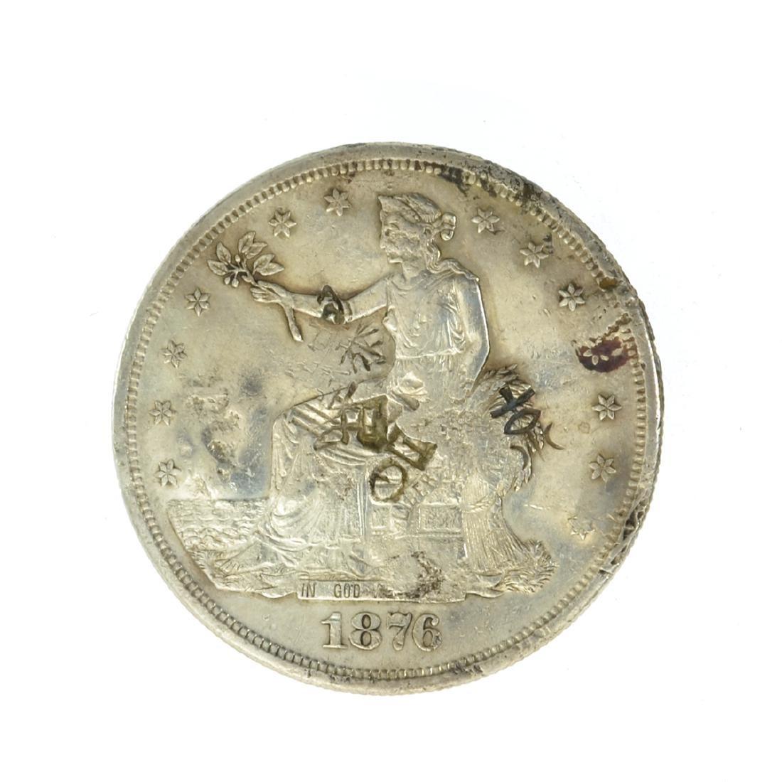 *1876-S US Trade Dollar w/Chop Marks Coin (JG)