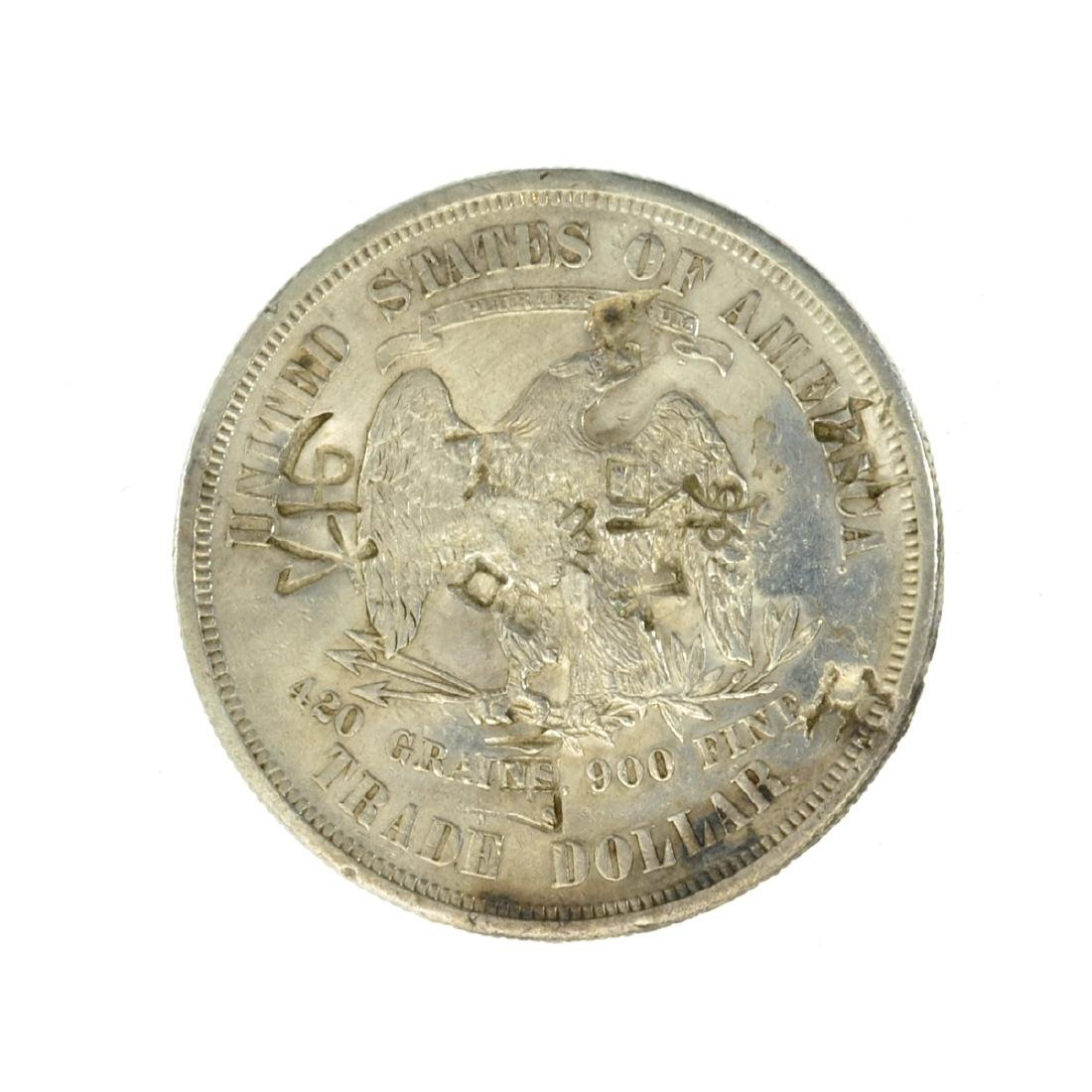 *1876-S US Trade Dollar w/Chop Marks Coin (JG) - 2