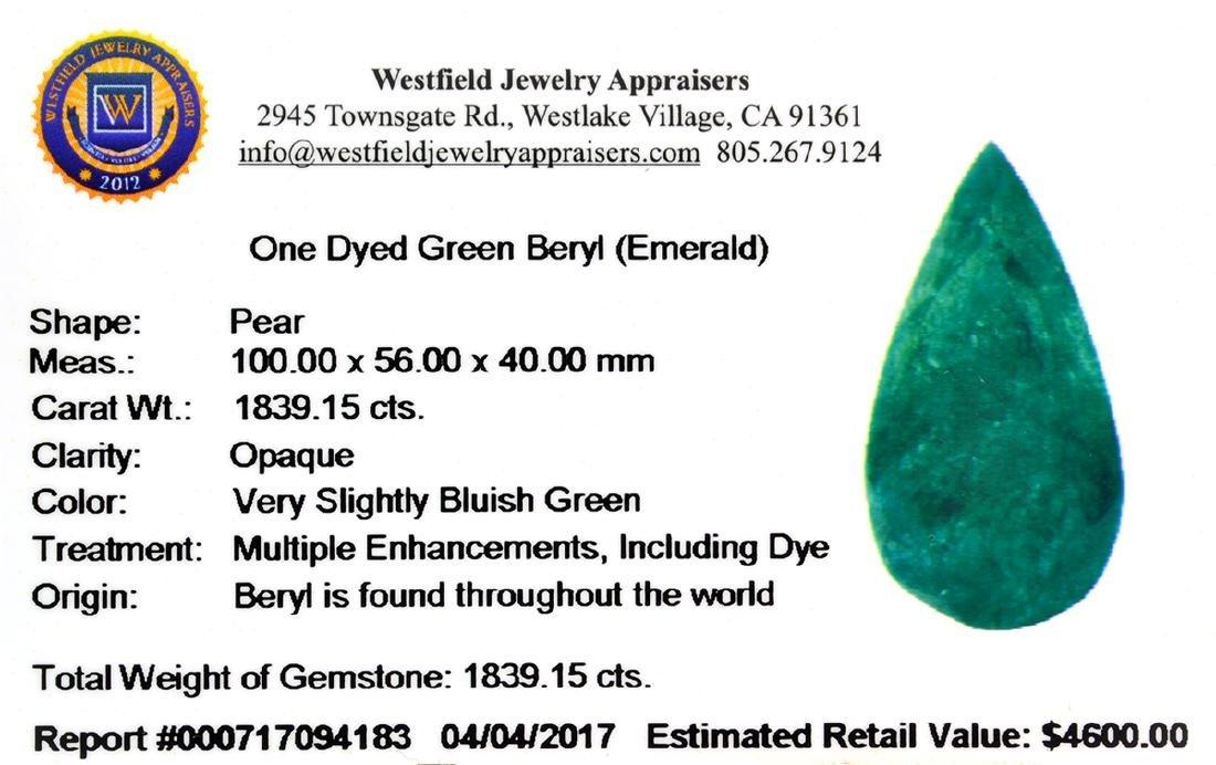 APP: 4.6k 1,839.15CT Pear Cut Green Beryl Emerald - 3