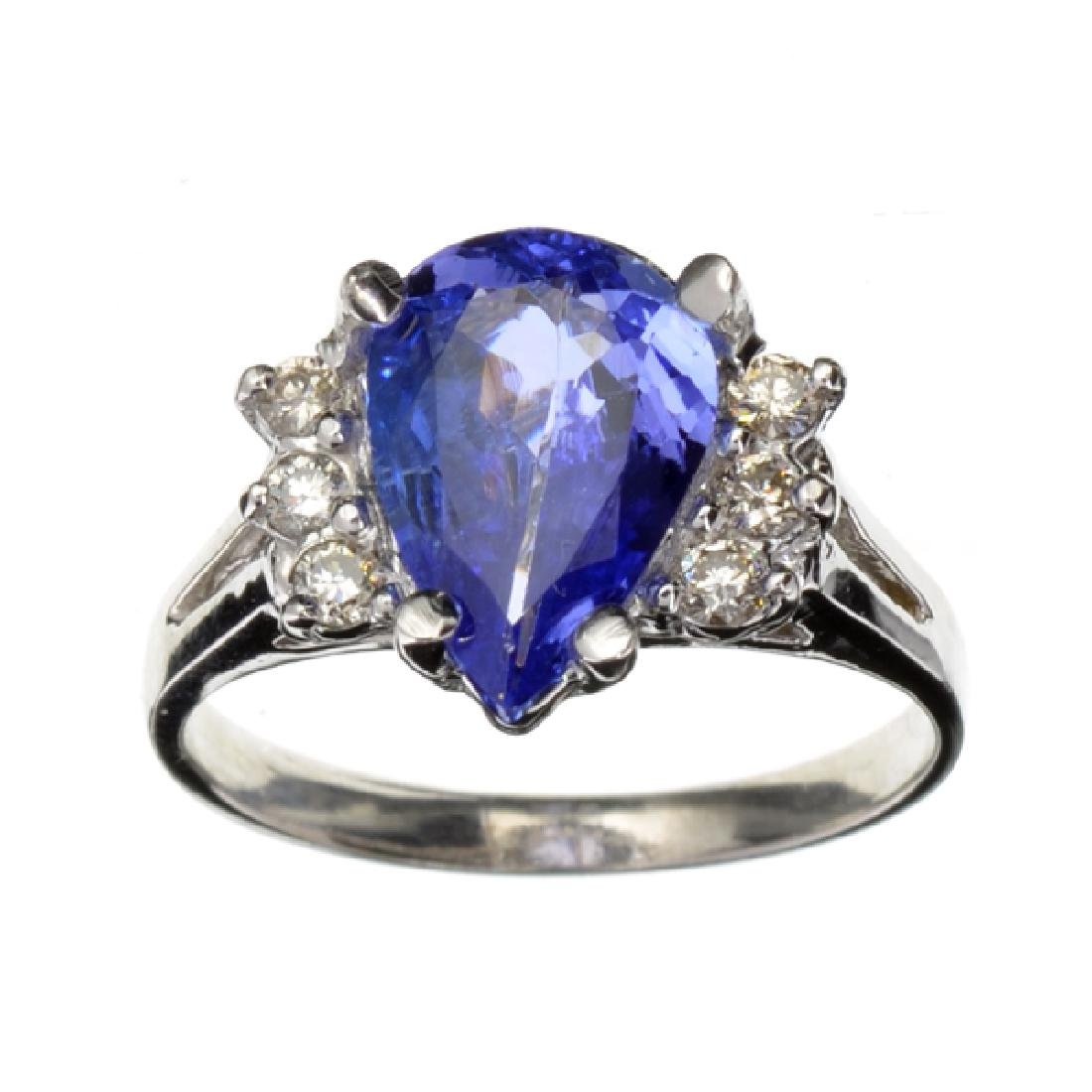 APP: 4.7k 14 kt. White Gold, 1.74CT Pear Cut Tanzanite