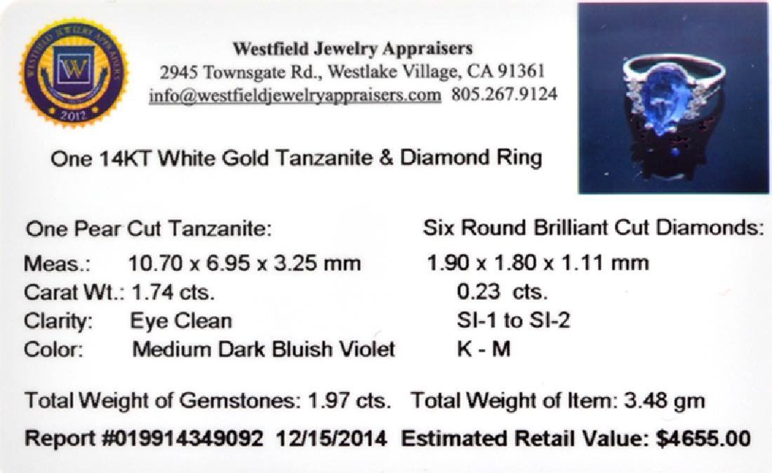 APP: 4.7k 14 kt. White Gold, 1.74CT Pear Cut Tanzanite - 2