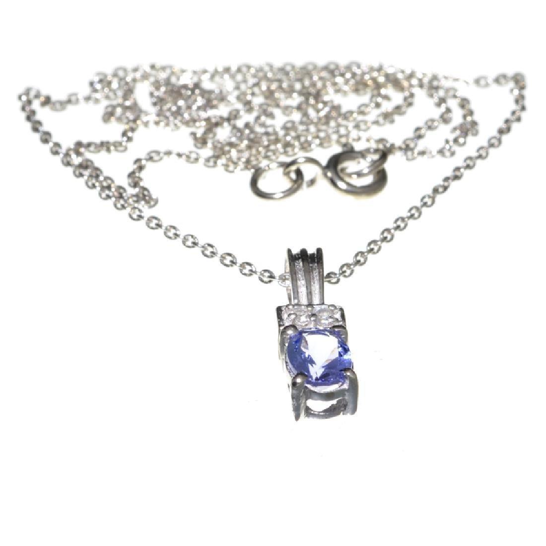 Fine Jewelry 0.55CT Tanzanite And Colorless Topaz
