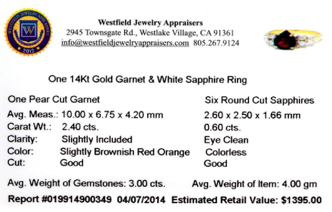 APP: 1.4k 14 kt. Gold, 3.00CT Garnet And White Sapphire - 2