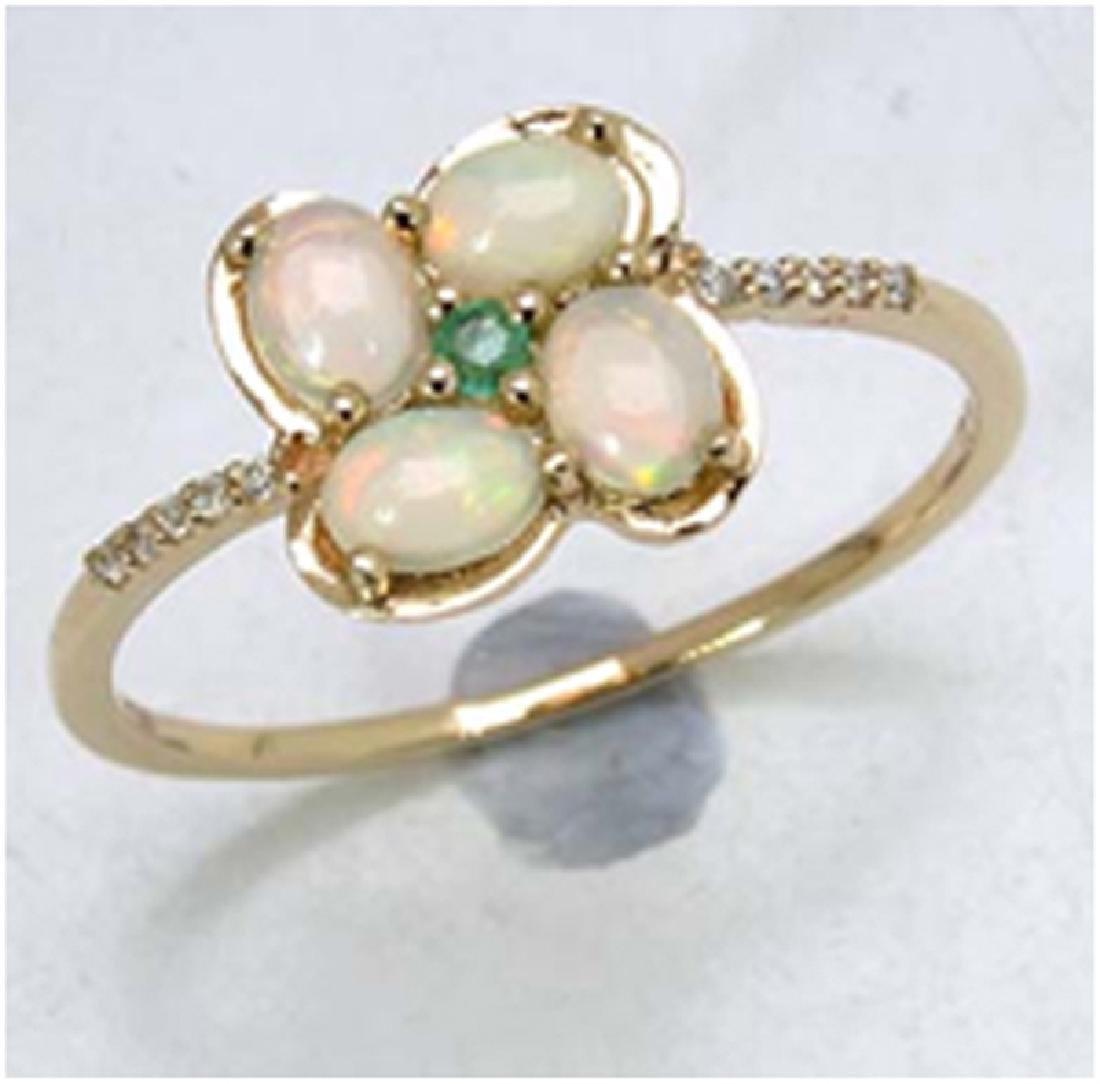 *Fine Jewelry 14K Gold, 1.52CT Ethiopian Opal + Zambian
