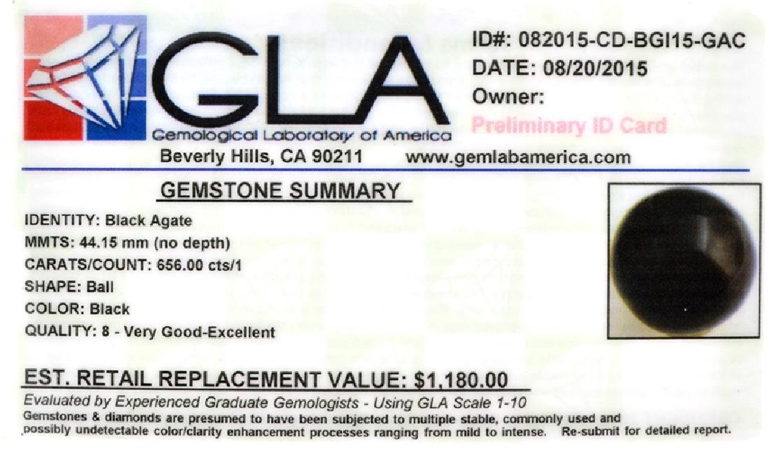 APP: 1.2k Rare 656.00CT Sphere Cut Black Agate Gemstone - 2
