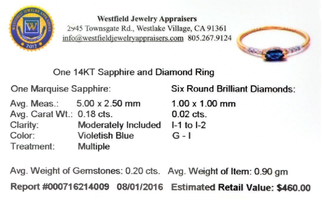 APP: 0.5k Fine Jewelry 14 KT Gold, 0.20CT Blue Sapphire - 2