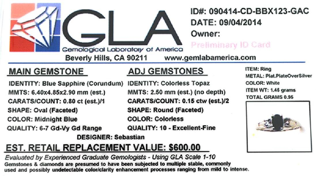 Fine Jewelry Designer Sebastian 0.80CT Blue Sapphire - 2