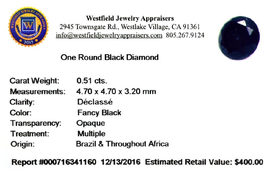 APP: 0.4k 0.51CT Round Cut Black Diamond Gemstone - 2