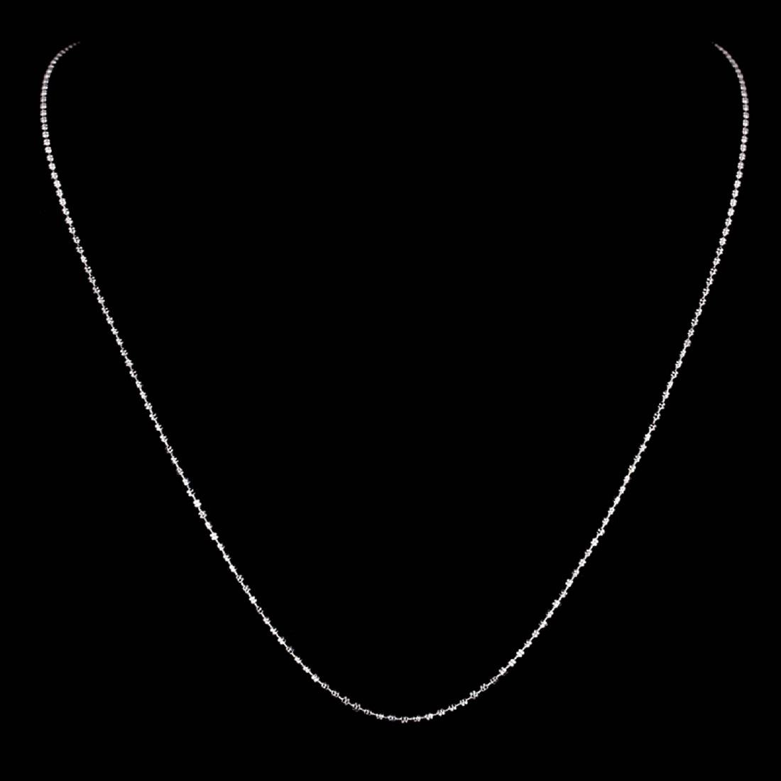 *Fine Jewelry 14 KT White Gold, 3.6GR, 18'' Double Bead