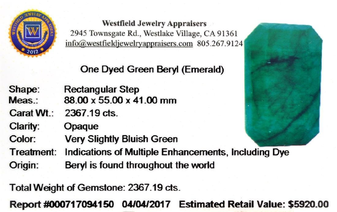 APP: 5.7k 2,282.13CT Rectangular Cushion Cut Green - 3