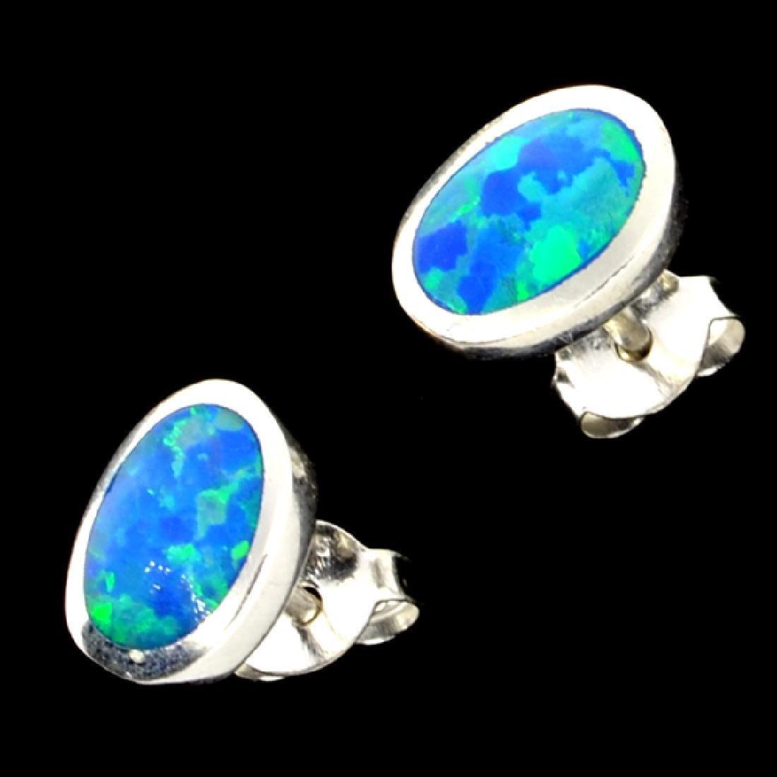Opal Doublet And Sterling Silver Earrings