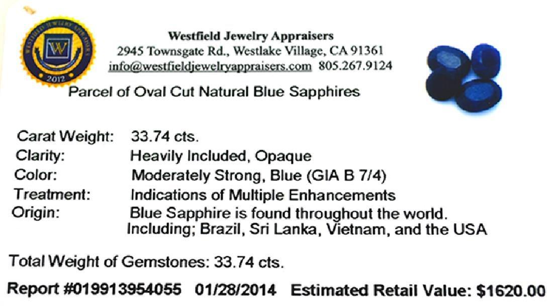 APP: 1.6k 33.74CT Oval Cut Blue Sapphire Parcel - 2