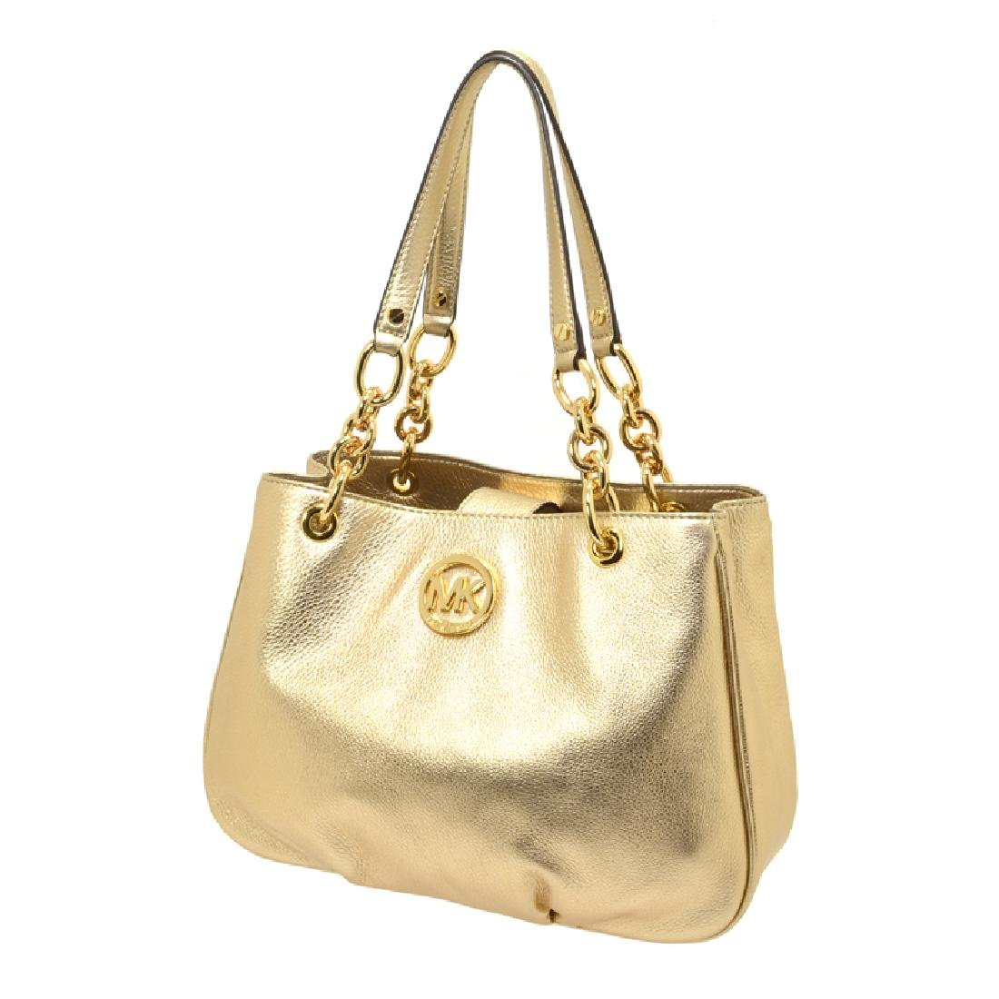 Brand New Michael Kors Fulton Chain Leather Pale Gold