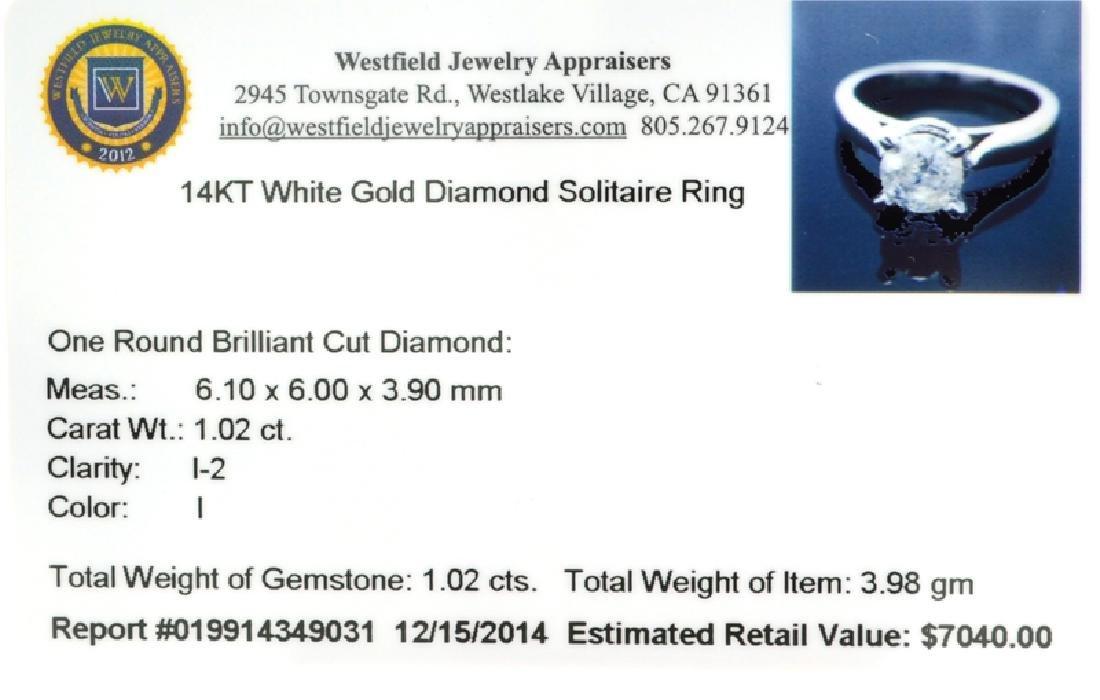 APP: 7k 14 kt. White Gold, 1.02CT Round Cut Diamond - 3