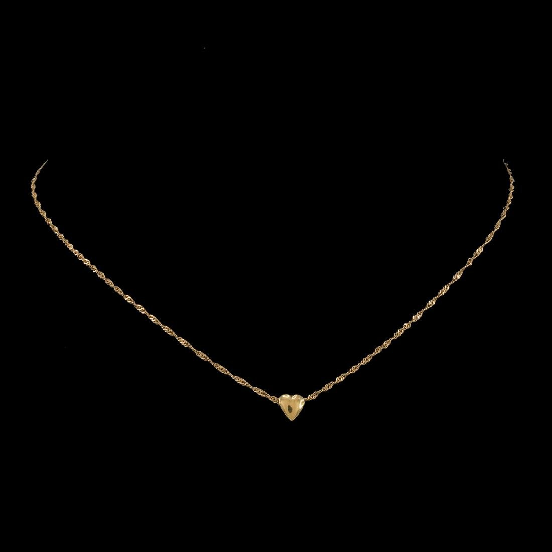 *Fine Jewelry 14 KT Gold Singapore W Puffed Heart