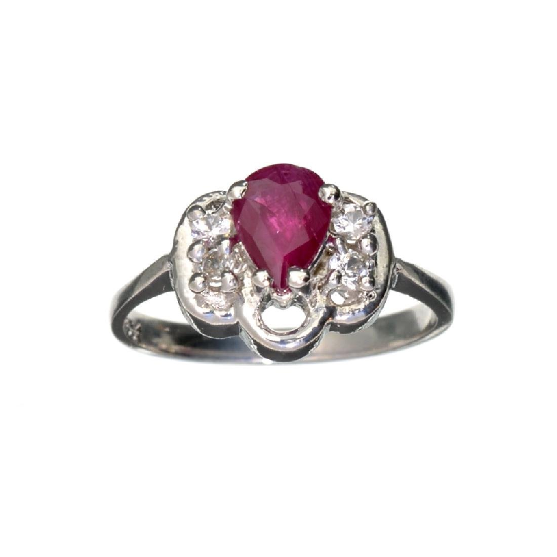 APP: 0.8k 0.55CT Ruby And Topaz Platinum Over Sterling