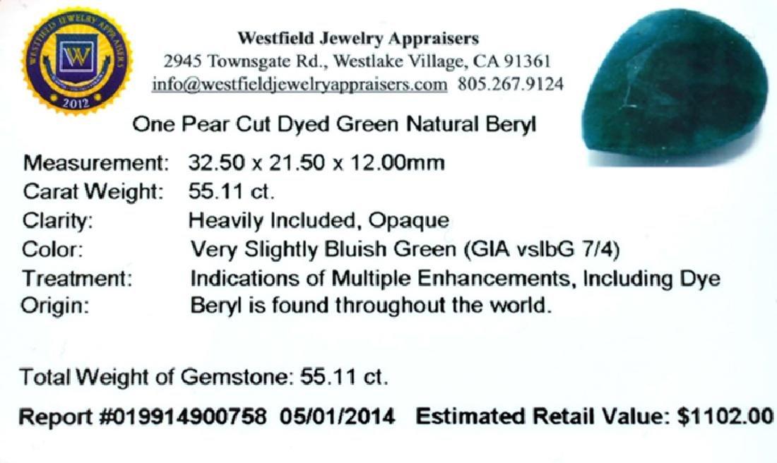 APP: 1.1k 55.11CT Pear Cut Green Beryl Gemstone - 3