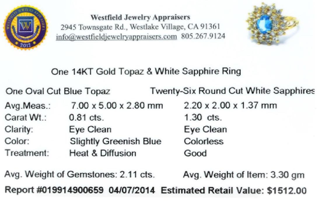APP: 1.5k 14 kt. Gold, 2.11CT Topaz And White Sapphire - 2