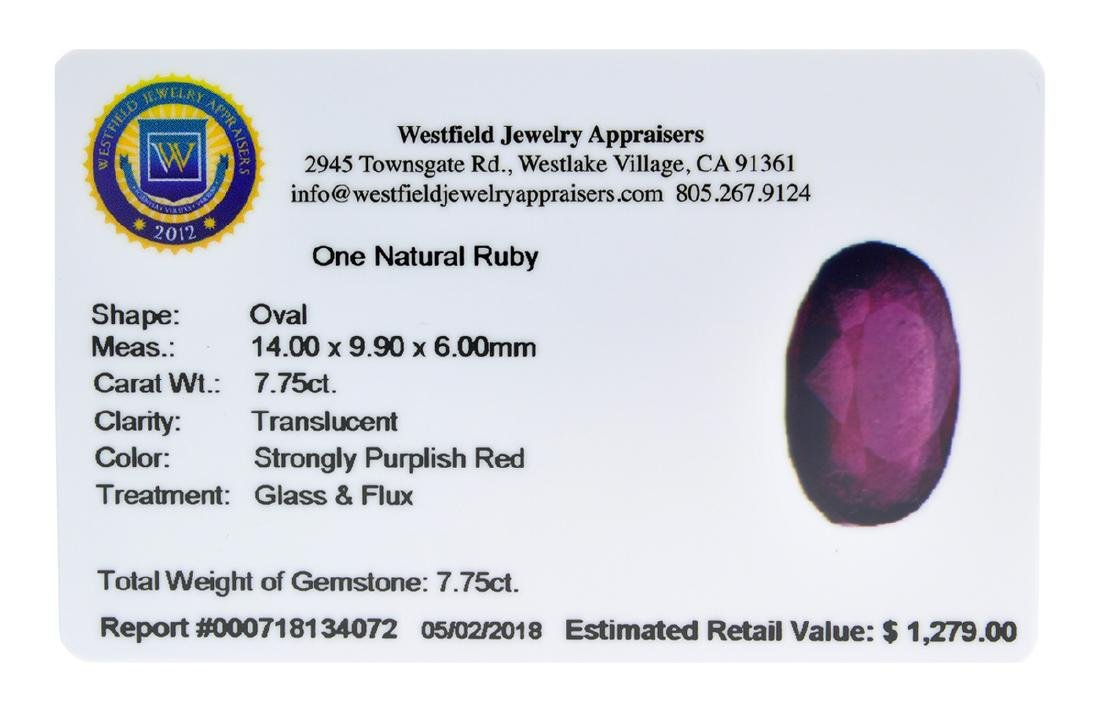 APP: 1.3k Extra Large Size 7.75CT Ruby Gemstone Very - 2