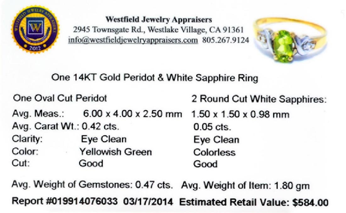 APP: 0.6k 14 kt. Gold, 0.42CT Peridot And White - 2