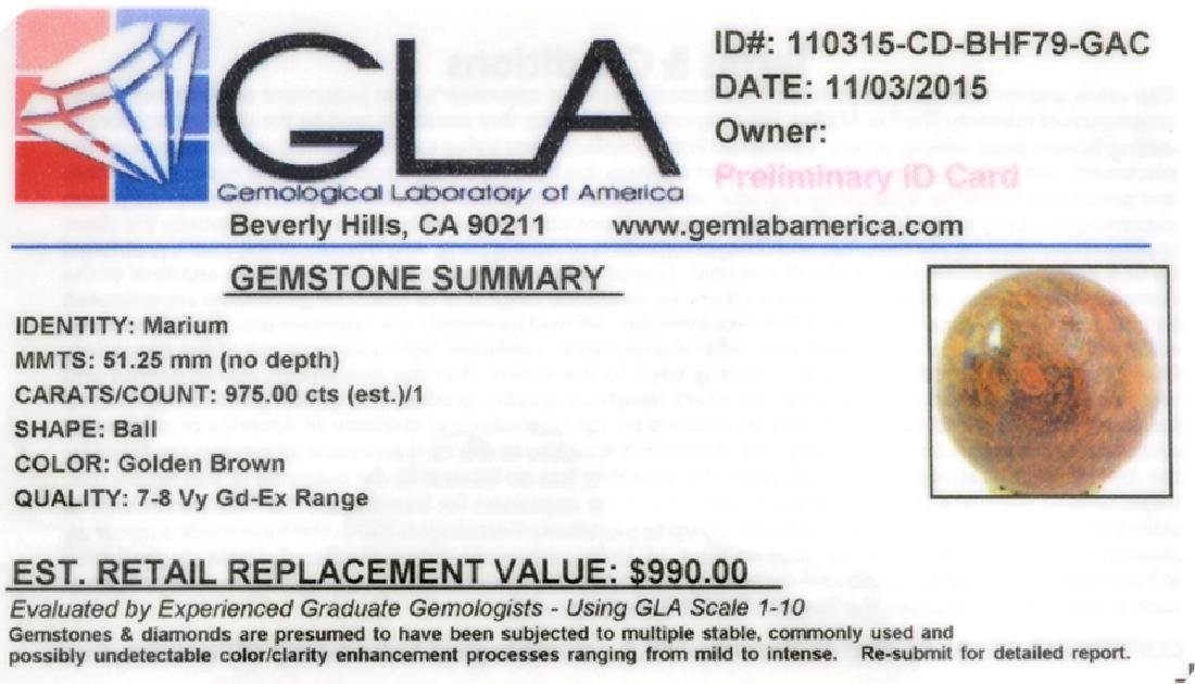 APP: 1k 975.00CT Ball Cut Golden Brown Marium Gemstone - 2