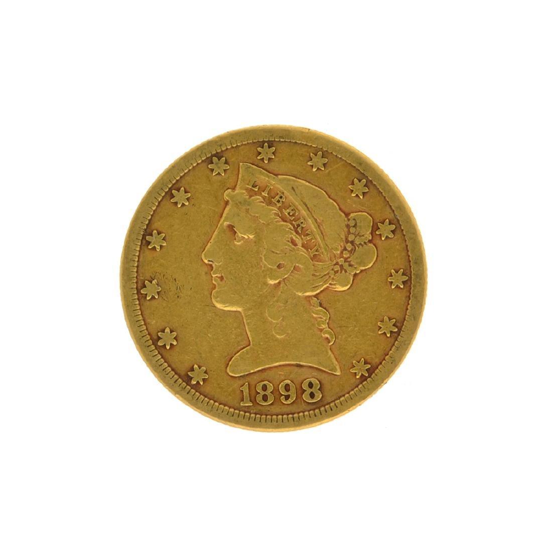 *1898-S $5 Liberty Head Gold Coin (DF)