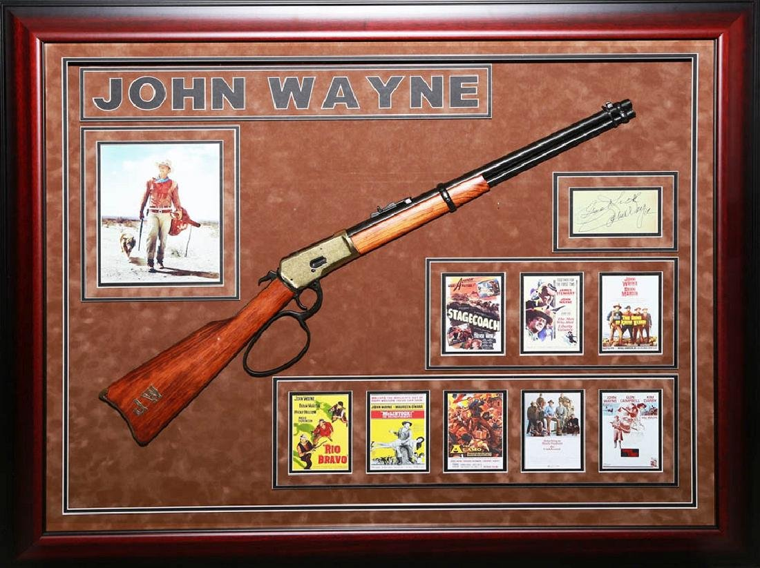 John Wayne Collage with Signatues and Rifle