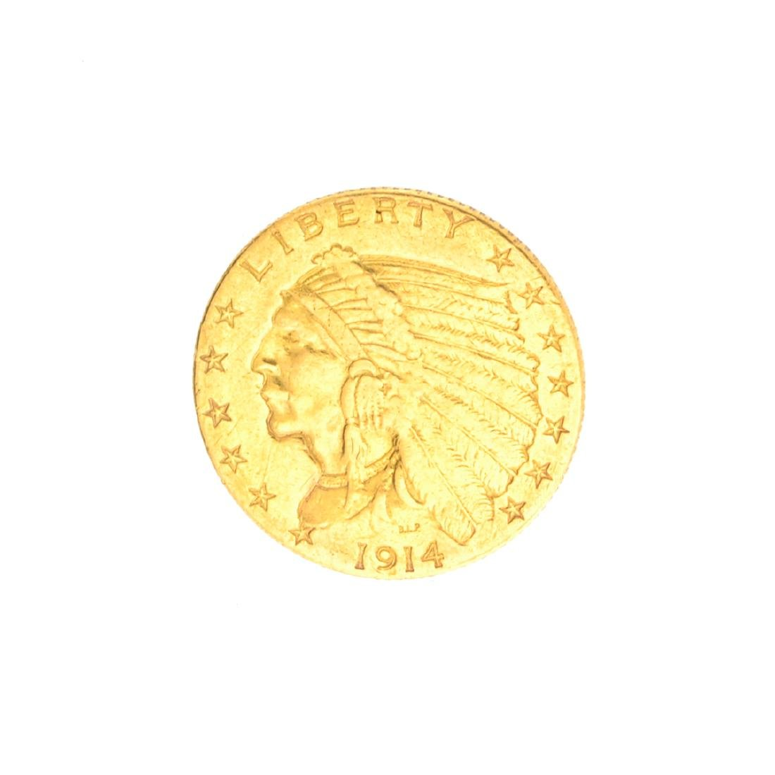 Very Rare 1914-D $2.50 U.S. Indian Head Gold Coin Great