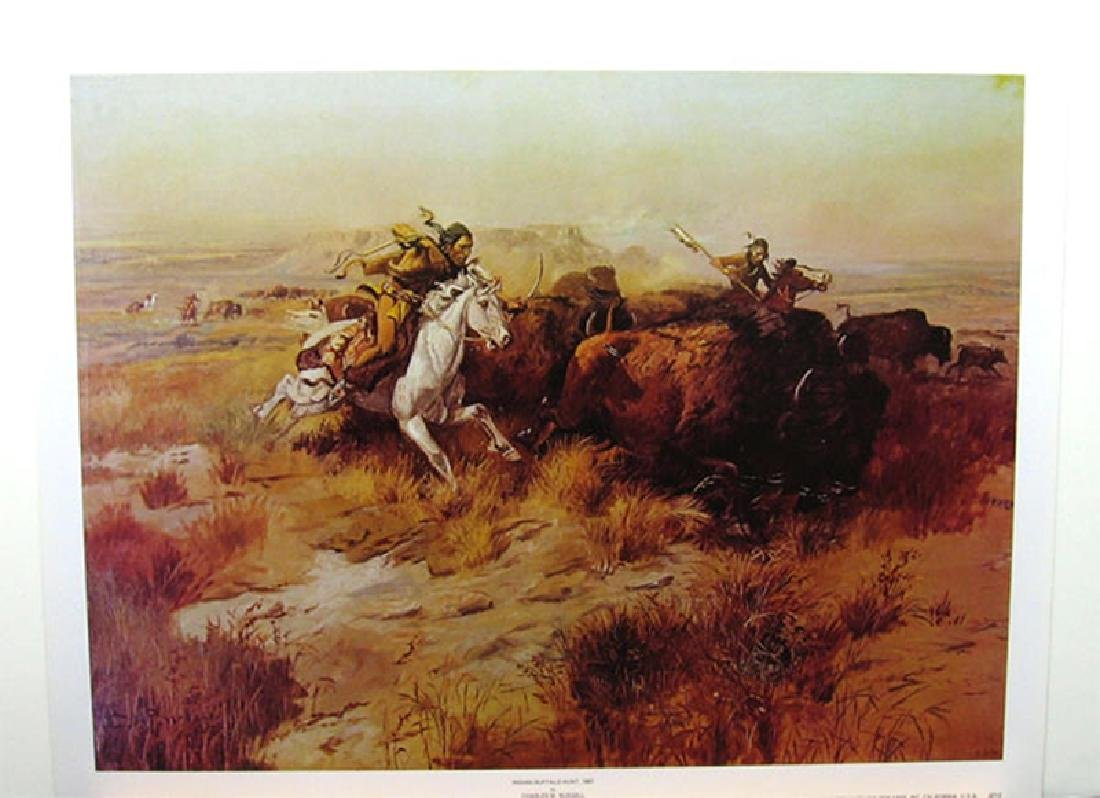 CHARLES M. RUSSELL (After) Indian Buffalo Hunt Print,